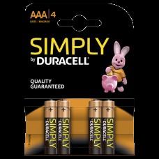 Duracell Simply AAA Alkaline Batteries 4pcs 656.951UK
