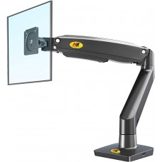 NBMounts F100A Ergonomic Extra Long Sit & Stand Monitor Mount Black